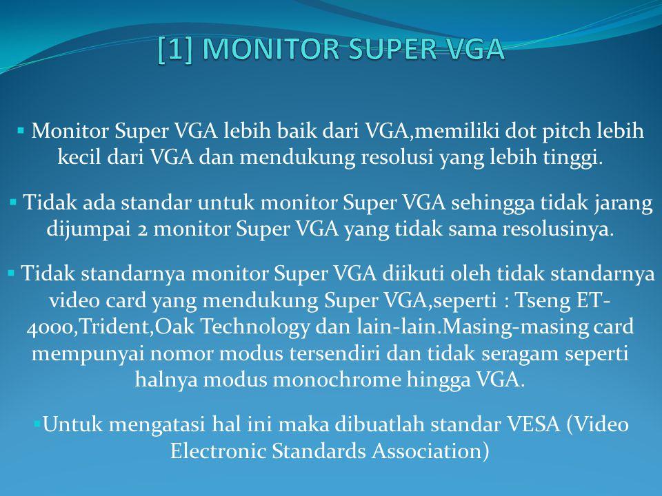 [1] MONITOR SUPER VGA Monitor Super VGA lebih baik dari VGA,memiliki dot pitch lebih kecil dari VGA dan mendukung resolusi yang lebih tinggi.
